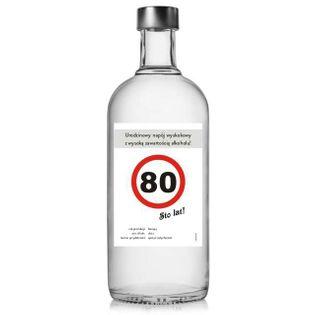 """Etykieta na butelkę """"Urodziny 80 znak"""", 85x120 mm, 5 szt"""