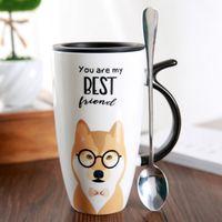 Kubek Z Pokrywką - Ceramiczny - Piesek - Idealny Do Biura - Na Prezent Biały Czarne Okulary