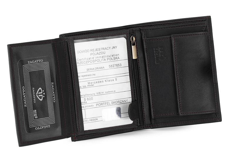 5d8b2960af9b65 Portfel skórzany męski Zagatto z ochroną kart RFID włoska skóra zdjęcie 1