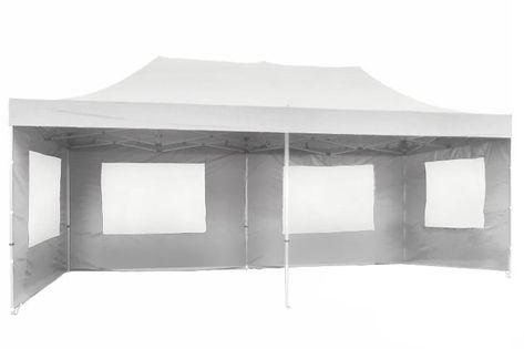 Pawilon ogrodowy 3x6 m, biały namiot handlowy ze ściankami