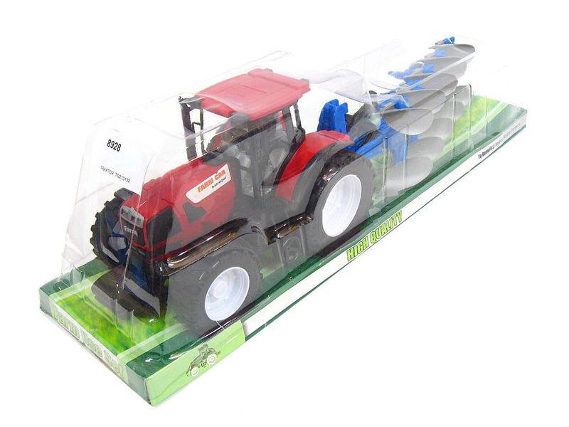 Duży Czerwony Traktor Dzieci Przyczepa Pług 50 cm zdjęcie 1