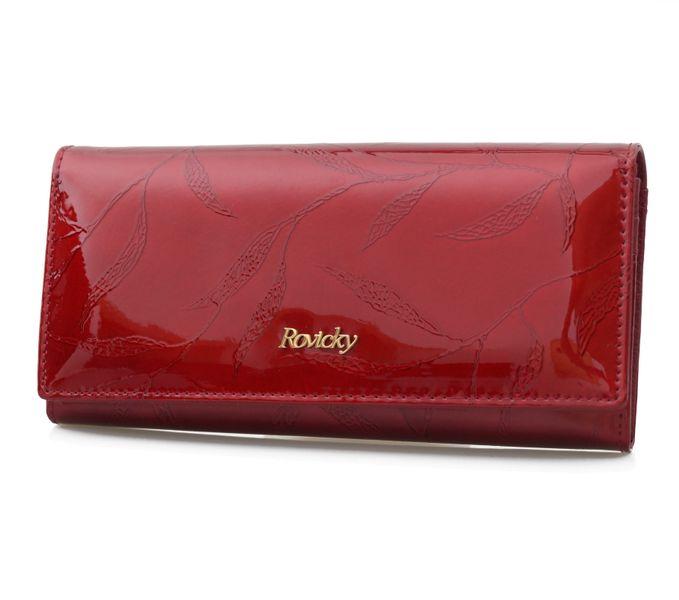 ROVICKY portfel skórzany damski lakierowany liście RFID P090 czerwony zdjęcie 1