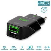 PURO Travel Fast Charger ładowarka sieciowa 2 x USB 2.4 A z niebieskim podświetleniem LED (czarny)