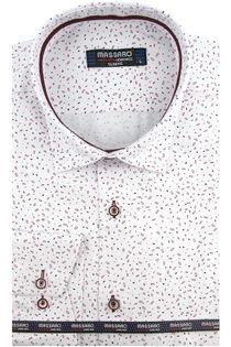 Koszula Męska Massaro biała we wzorki z długim rękawem w kroju SLIM FIT A523 XL 43 182/188
