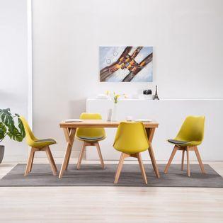 Lumarko Krzesła stołowe, 4 szt., żółto-czarne, sztuczna skóra