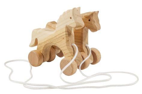 Koniki z drewna, na sznurku