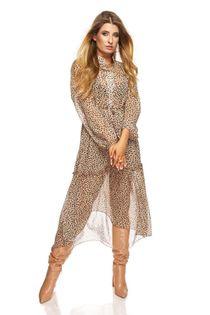 Tiulowa sukienka o koszulowym kroju - Beżowy M/L