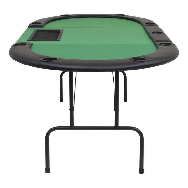 Składany, owalny stół do pokera dla 9 graczy, zielony zdjęcie 4