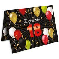 Zaproszenia 18 URODZINY balony czarno czerwone x10