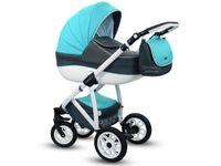 Błękitny wózek dziecięcy ANGELO 3w1 z Fotelikiem
