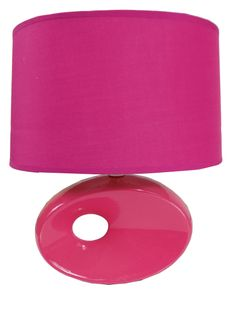 LAMPA lampka CERAMICZNA nocna stołowa abażur 2031 pink/fuksja
