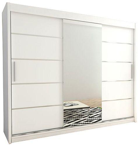 Szafa przesuwna garderoba Verona 2-250 z lustrem biała wenge sonoma na Arena.pl