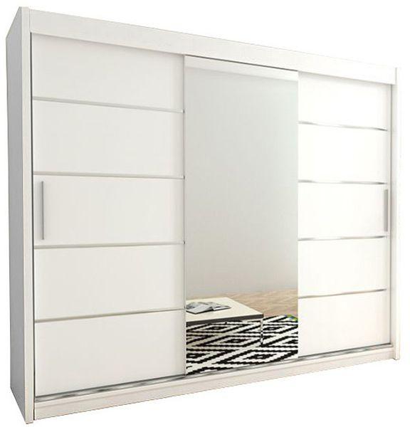 Szafa przesuwna garderoba Verona 2-250 z lustrem biała wenge sonoma zdjęcie 1