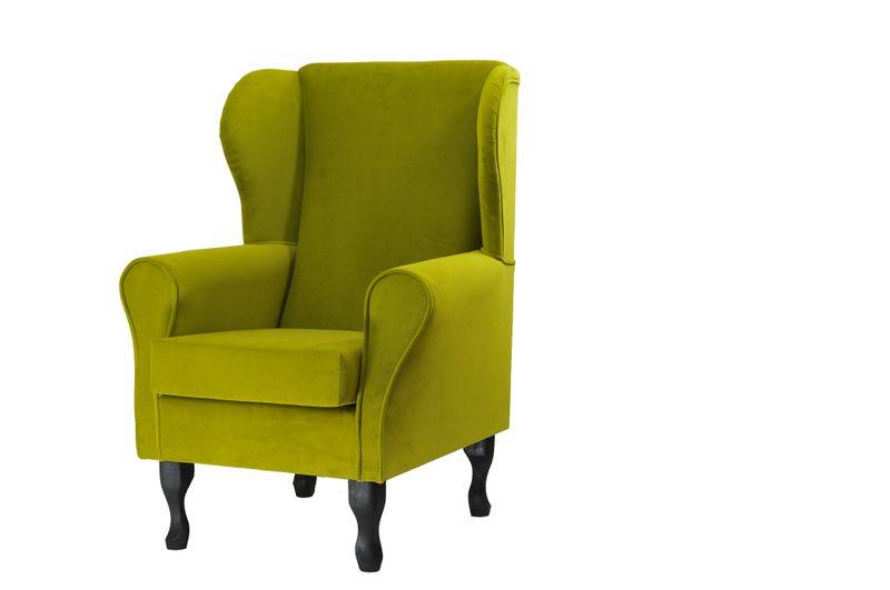 Fotel uszak oliwkowy gładki zdjęcie 1