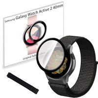 Pasek nylonowy opaska i szkło 3D do Samsung Galaxy Watch Active 2 40mm Black