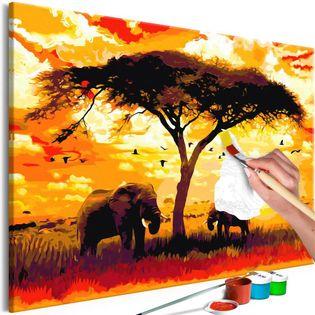 Obraz do samodzielnego malowania - Afryka o zachodzie słońca