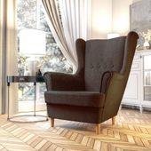 Fotel Skandynawski Uszak mocny materiał+sprężyny zdjęcie 7