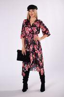 Kopertowa sukienka midi z wiązaniem w pasie i asymetrycznym dołem - Czarny U