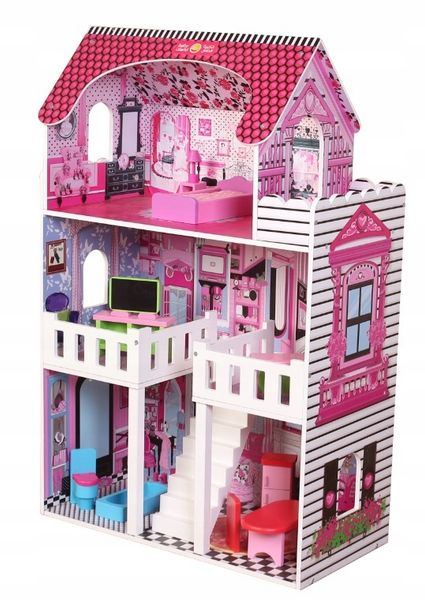 duży 3 piętrowy drewniany domek dla lalek barbie zdjęcie 4