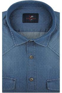 Koszula Męska Viadi Polo jeansowa w kropki na długi rękaw w kroju SLIM FIT A213 M 39 176/182