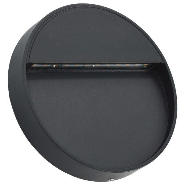 Lampy ścienne zewnętrzne LED, 2 szt., 3 W, czarne, okrągłe zdjęcie 3