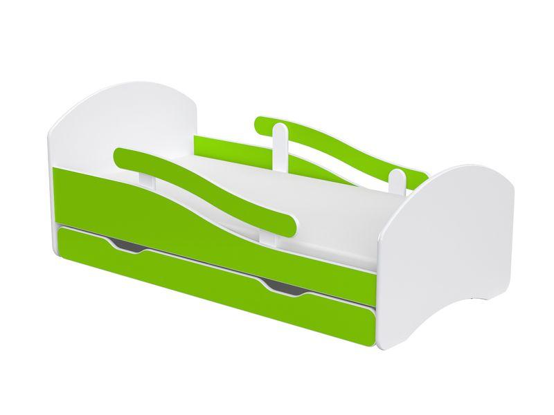 Łóżko dziecięce 140x70 biało-zielone/limonkowe materac gratis zdjęcie 1