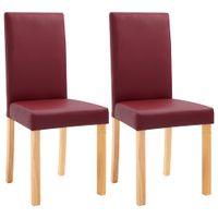 Krzesła jadalniane, 2 szt., czerwone, sztuczna skóra