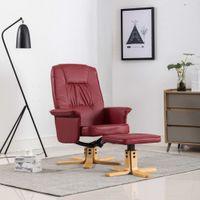 Fotel z podnóżkiem, czerwone wino, sztuczna skóra
