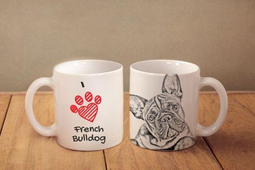 """Buldog francuski - kubek z wizerunkiem psa i napisem """"I love..."""". Wysokiej jakości kubek ceramiczny. na Arena.pl"""