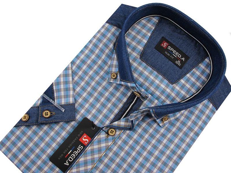 7872c394adfef4 Koszula Męska Speed.A błękitna w kratkę z dodatkami jeans SLIM FIT na krótki  rękaw