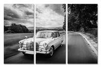 Mercedes Rozmiar - 3x100x50, Kolor - Czarno-biały