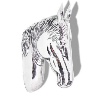 Lumarko Głowa konia dekoracyjna na ścianę, aluminium, srebrna