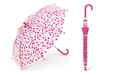 Przezroczysta parasolka dziecięca Happy Rain w serduszka