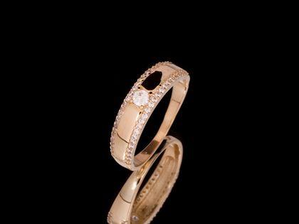 P724 Złoty pierścionek z cyrkoniami. 585