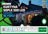 Kurtyna Sople LED 14,5 m • 300 LED • EFEKT FLASH • wył. czasowy • zewnętrzne oświetlenie świąteczne NR 1785 Ciepły biały (błyska zimny biały)
