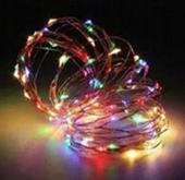 MIKRO LAMPKI LED NA DRUCIKU - 100 LED - MULTIKOLOR NA BATERIE 9117M