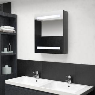 Lumarko Szafka łazienkowa z lustrem i LED, lśniąca szarość, 50x14x60 cm!