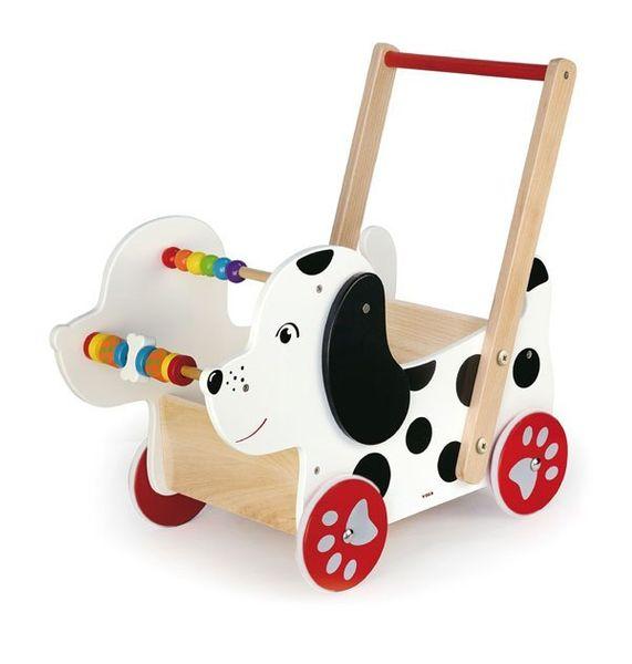 Drewniany Wózek Dla Lalek Piesek Viga Chodzik Pchacz Liczydło Edukacyjny zdjęcie 1