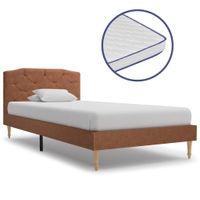 Łóżko Z Materacem Memory, Brązowe, Tkanina, 90 X 200 Cm