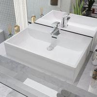 Umywalka ceramiczna z otworem na baterię 60,5 x 42,5 x 14,5 cm, biała