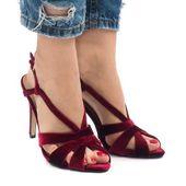 Czerwone zamszowe sandały szpilki r.38
