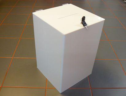 Urna skarbonka puszka skrzynka z plexi mlecznej 30x30x45 cm