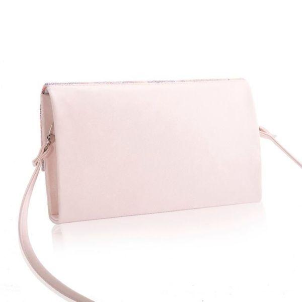 979277a774 Stylowa różowa pudrowa damska kopertówka torebka na ramię w kwiaty zdjęcie 3