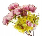 Róża c. Róż -piękny bukiet z przybraniem 8szt 50cm
