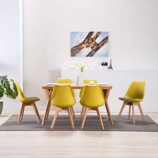 Lumarko Krzesła stołowe, 6 szt., żółto-czarne, sztuczna skóra