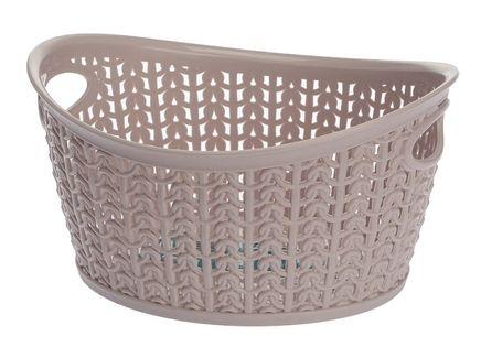 Koszyk kosz owalny organizer WILLOW 1,5 l różowy pastelowy brudny róż ażurowy sweterkowy wzór