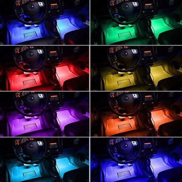 Oświetlenie Wnętrza Auta Rgb Samochodu Led 4x12led