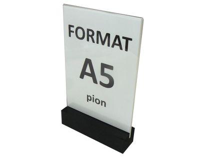 Stojak z plexi 2mm na ulotkę menu A5 drewniana podstawka