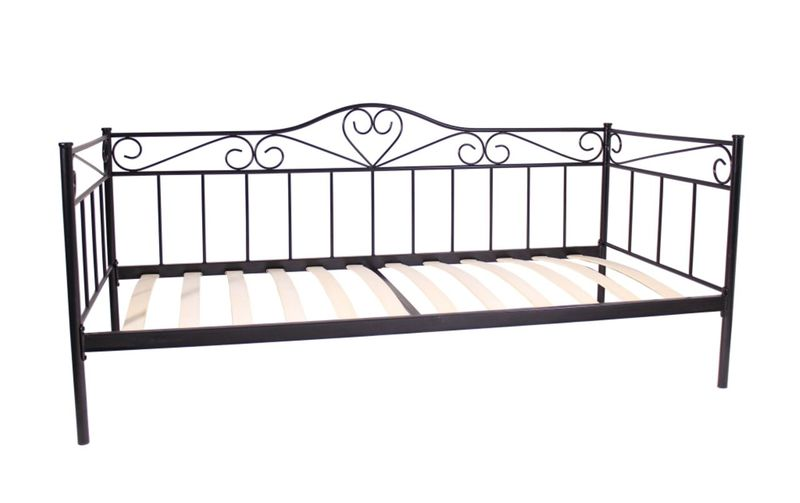 łóżko 90x200 Metalowe Ze Stelażem Kute Czarne