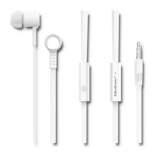 Qoltec Słuchawki dokanałowe z mikrofonem | Białe